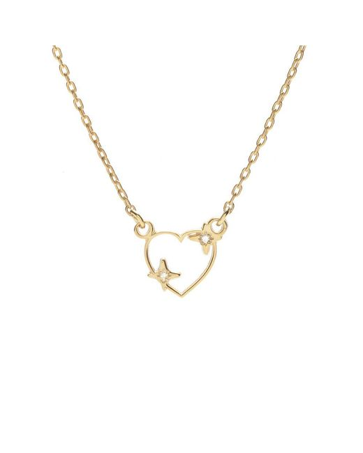 Bing Bang - Metallic Sparkle Heart Necklace - Lyst