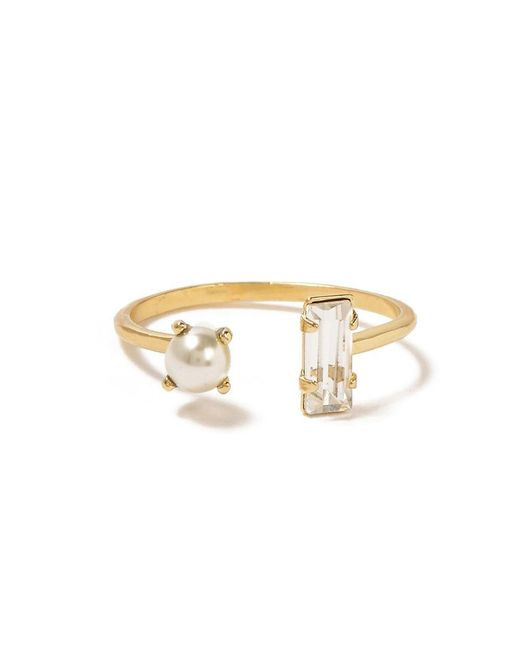 Bing Bang | Yellow Open Pearl Baguette Ring | Lyst