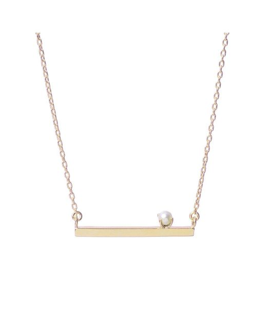 Bing Bang | Yellow Pearl Bar Necklace | Lyst