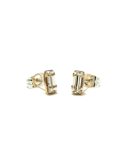 Bing Bang | Yellow Tiny Baguette Studs | Lyst