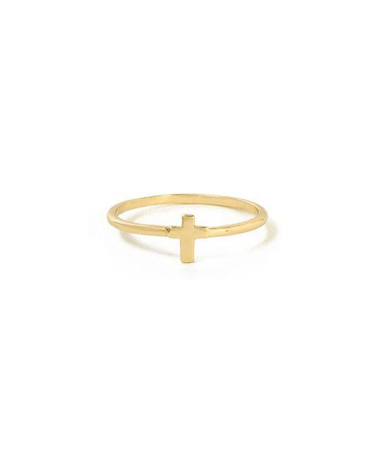 Bing Bang - Yellow Tiny Cross Ring - Lyst