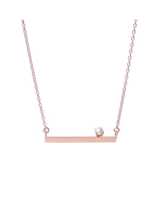 Bing Bang - Pink Pearl Bar Necklace - Lyst