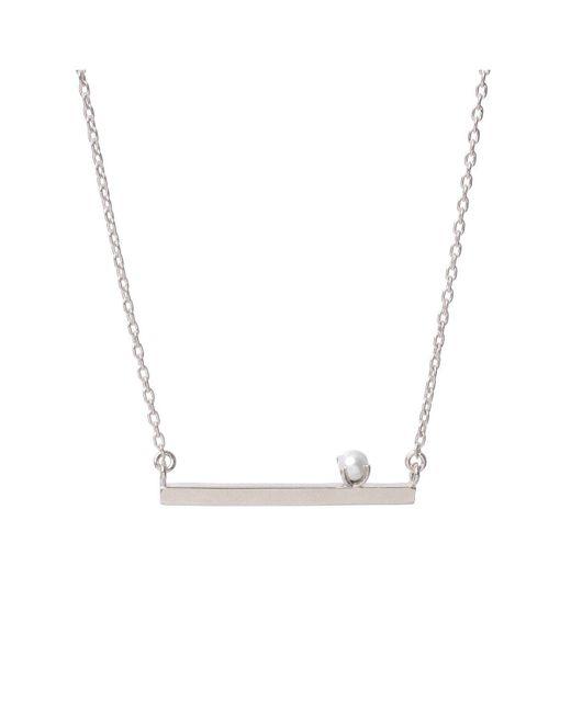 Bing Bang - Metallic Pearl Bar Necklace - Lyst
