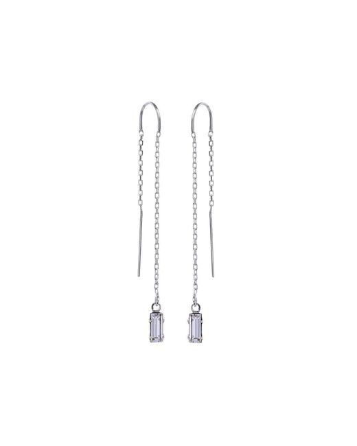Bing Bang - Metallic Baguette Threader Earrings - Lyst