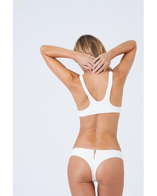 Beach Bunny Zoey Tango Thong Bikini Bottom - Ivory White