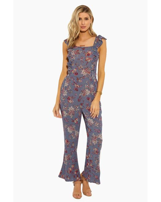 Patrons Of Peace - Ruffle Jumpsuit With Smocking - Dusty Blue - Lyst