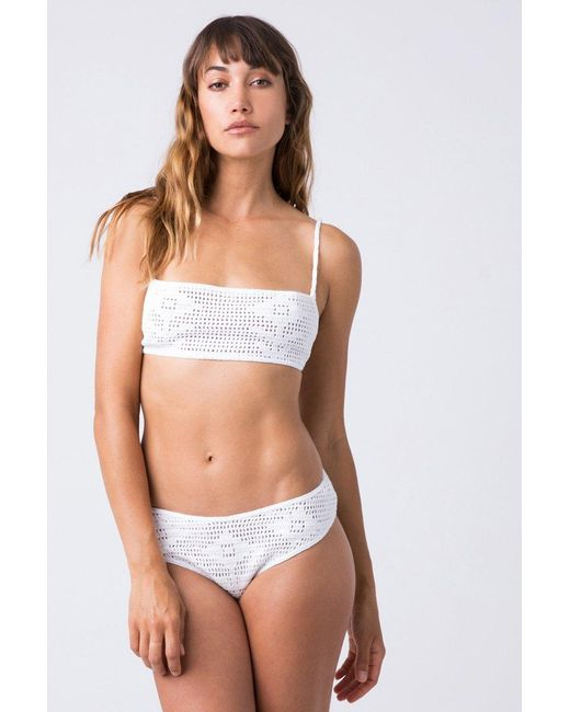 Indah White Isabel Crochet Bandeau Bikini Top