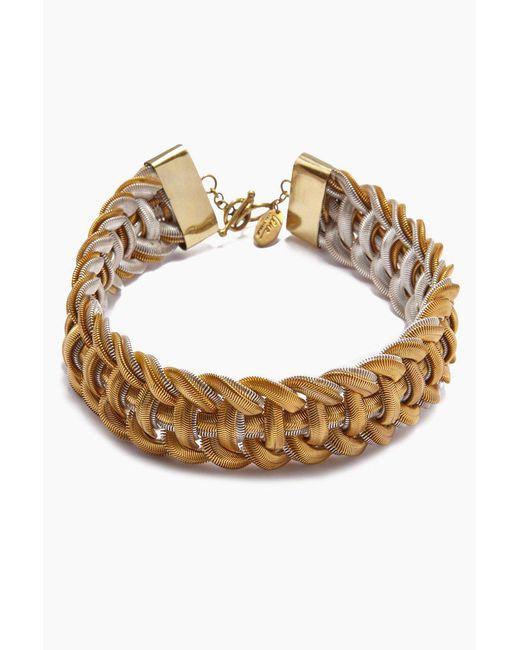 Lena Bernard Metallic Sidika Woven Gold & Silver Snake Chain Collar Necklace