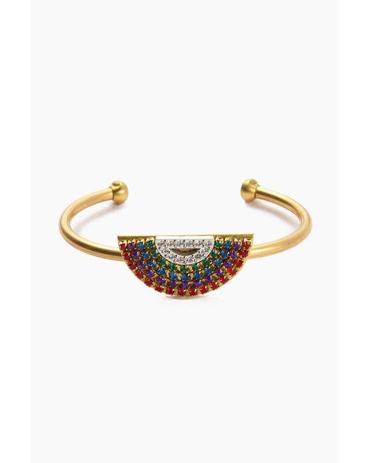 Sandy Hyun - Metallic Vintage Swarovski Crystal Rainbow Cuff Bracelet - Gold Brass - Lyst