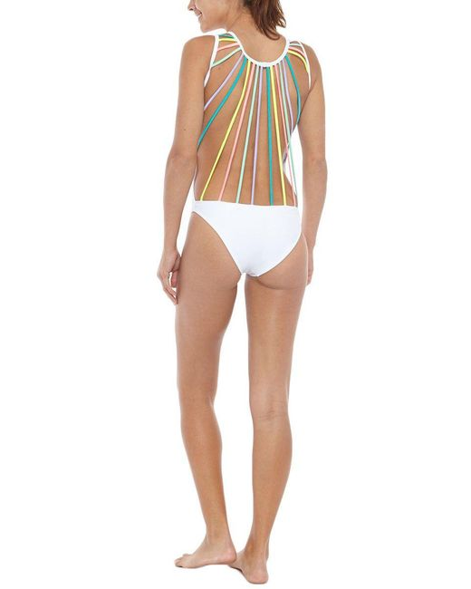 Kovey - The Rainbow Line Up Strappy Caged One Piece Swimsuit - White - Lyst