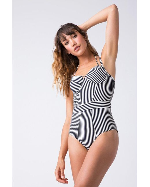 c9bf613baf Marlies Dekkers - Holi Vintage Plunge Balcony One Piece Swimsuit - Blue Ecru  - Lyst ...