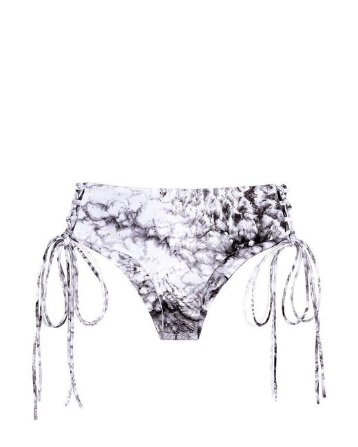 Mikoh Swimwear Black Vanuatu Lace-up Sides Cheeky Bikini Bottom
