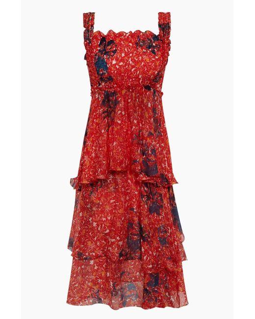 Clube Bossa Zelza Ruffle Midi Dress - Fleur Red Print