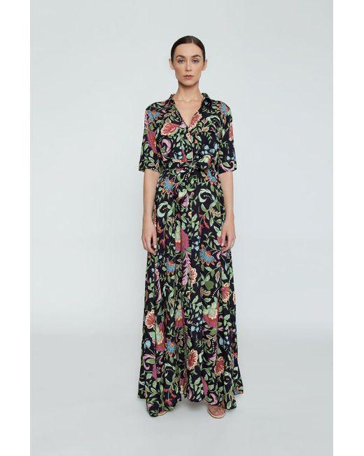 Triya Multicolor Chemise Short Sleeve Button Up Maxi Dress