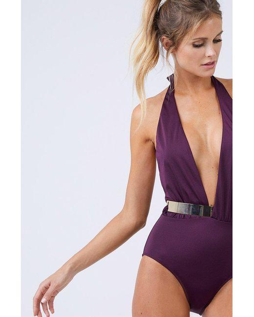 Moeva - Purple Bridget Gold Belt One Piece - Prune - Lyst