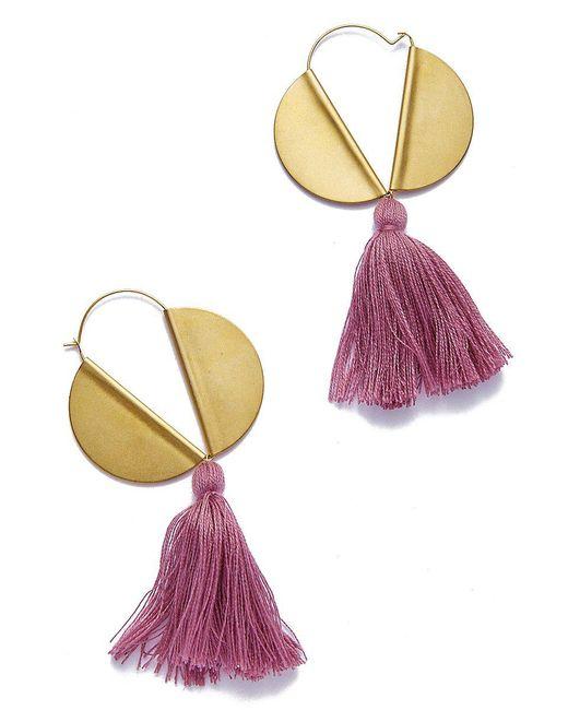 Sandy Hyun - Multicolor Winged Hoop Earrings - Plum Tassel - Lyst