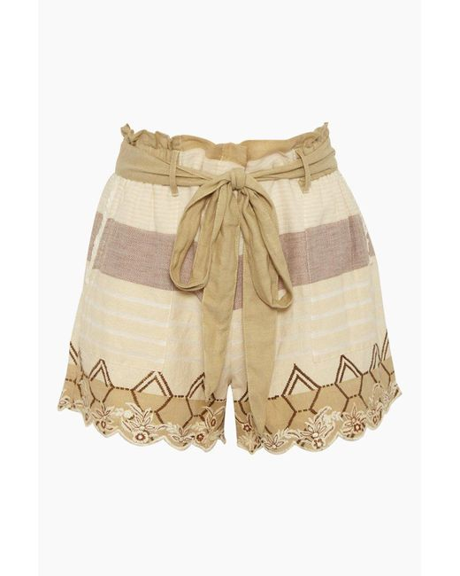 Hemant & Nandita Natural Bow Front Cotton Gauze Shorts - Mana Beige