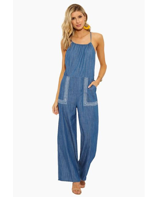 Patrons Of Peace Denim Embroidered Jumpsuit - Blue