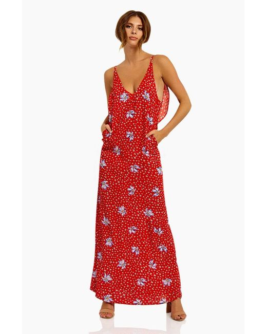 Beach Riot Mila Ruffle Scoop Back Maxi Dress - Red Floral Print