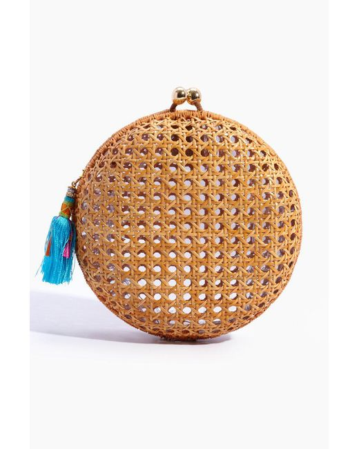 Serpui Natural Lizzy Wicker Circle Clutch