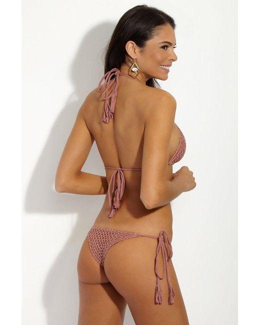 Acacia Swimwear Pink Polihale Crochet Tie Side Bikini Bottom