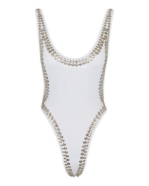 Norma Kamali Stud Marissa Side Boob High Cut One Piece Swimsuit - White