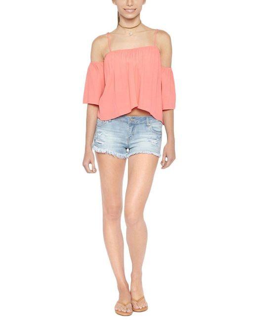 Tori Praver Swimwear Pink Flores Flowy Off Shoulder Top