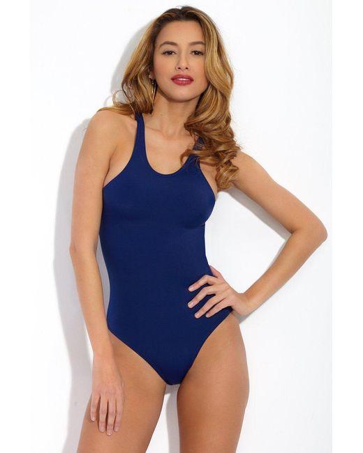 Norma Kamali Sporty Racerback Mio One Piece Swimsuit - Navy Blue