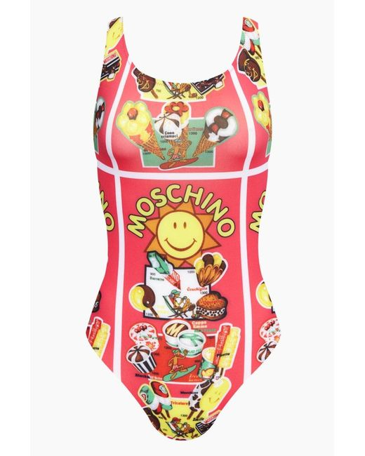 Moschino Scoop Tank One Piece Swimsuit - Fuchsia Pink Gelati Print