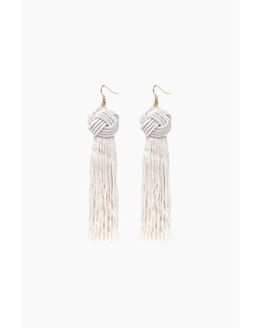 Vanessa Mooney - White Ivory Astrid Knotted Tassel Earrings - Lyst
