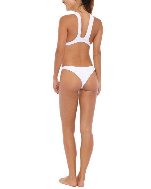 Aila Blue Fitzroy High Cut Cheeky Bikini Bottom - White Paisley Print