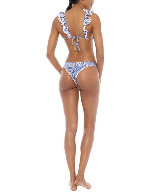 Luli Fama Multicolor Frilly Ruffle Triangle Bikini Top - Naughty Girl Print