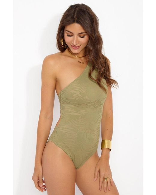 Prism Brown South Beach One Shoulder One Piece Swimsuit - Taupe Zebra Print