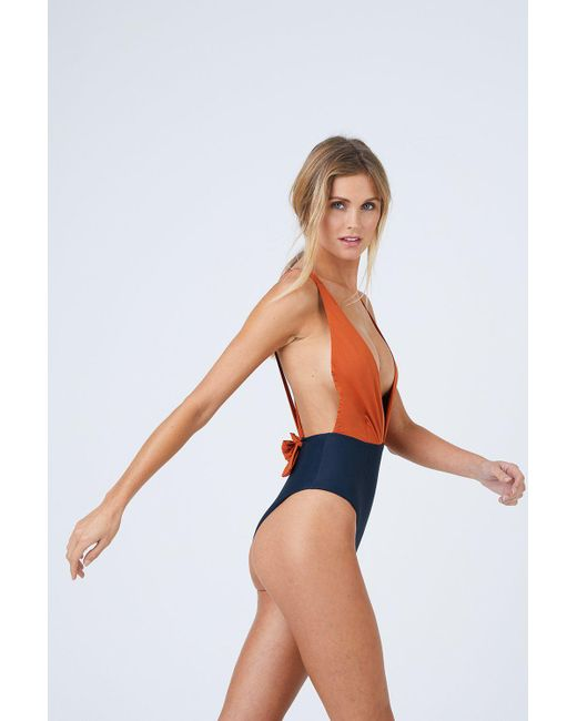 a307ef0216 Haight Marina Plunge One Piece Swimsuit - Rust   Black in Black - Lyst