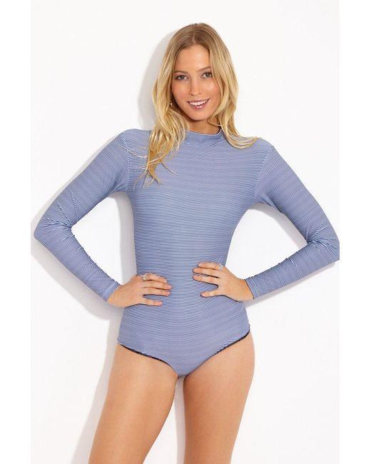 66ac5de6e2 Acacia Swimwear - Blue Ehukai Long Sleeve Rashguard Bodysuit - Long Island  Stripe Print - Lyst ...