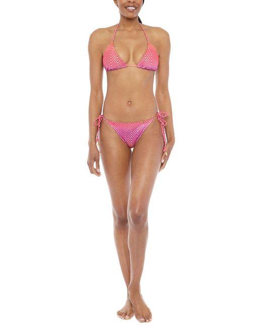 Luli Fama Pink Braided Triangle Bikini Top - Sunset Angel Print