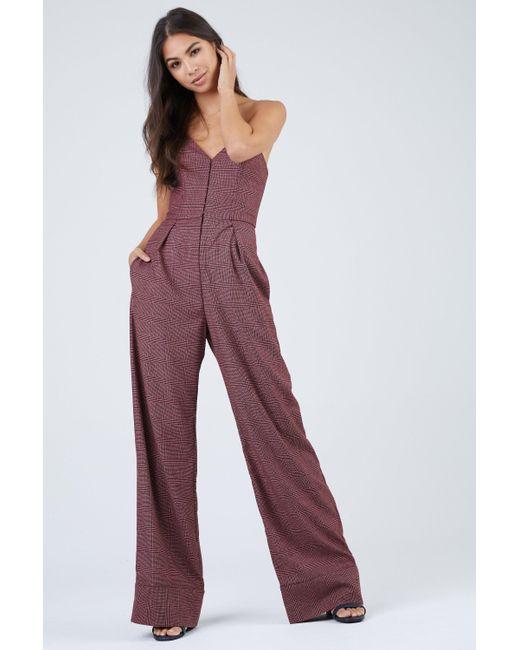 e0031c30b632 Fleur du Mal - Wide Leg Wool Corset Jumpsuit - Pink Prince Print - Lyst ...
