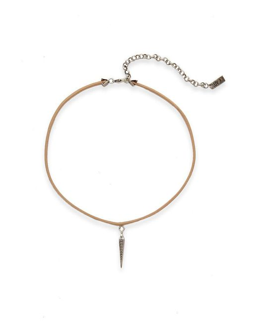 Luv Aj - Metallic Leather Wrap Charm Choker - Blush/silver - Lyst