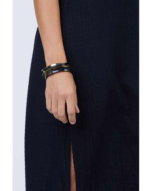 Soko Black Stacked Mixed Material Bracelets