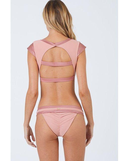 Beach Bunny Mia Cheeky Ruched Bikini Bottom - Whiskey Rose Pink