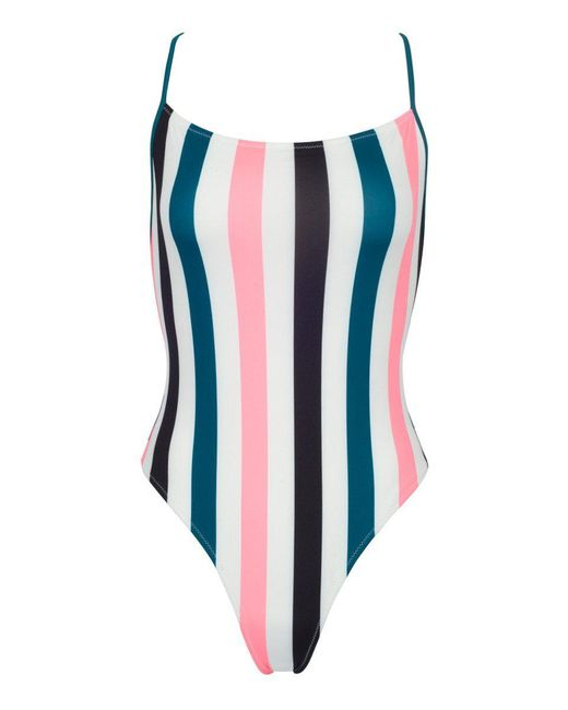 Solid & Striped The Chelsea One Piece Swimsuit - Black/jade/coral Stripe