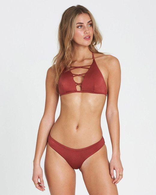 Billabong Red Sol Searcher High Neck High Neck Bikini Top