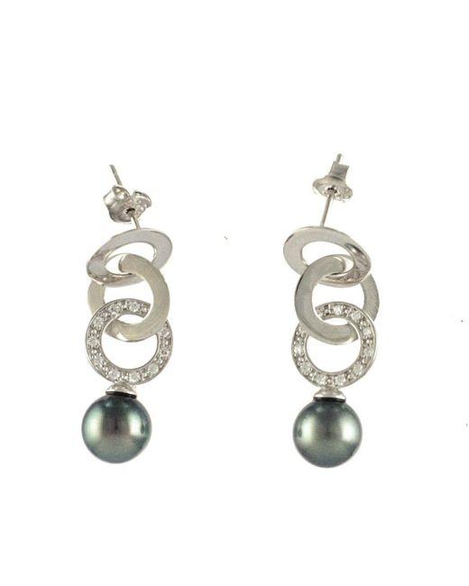 Black.co.uk - Metallic Valera Tahitian Black Pearl And Silver Earrings - Lyst