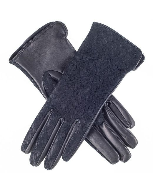Black.co.uk | Blue Black Leather And Lace Silk Lined Leather Gloves | Lyst