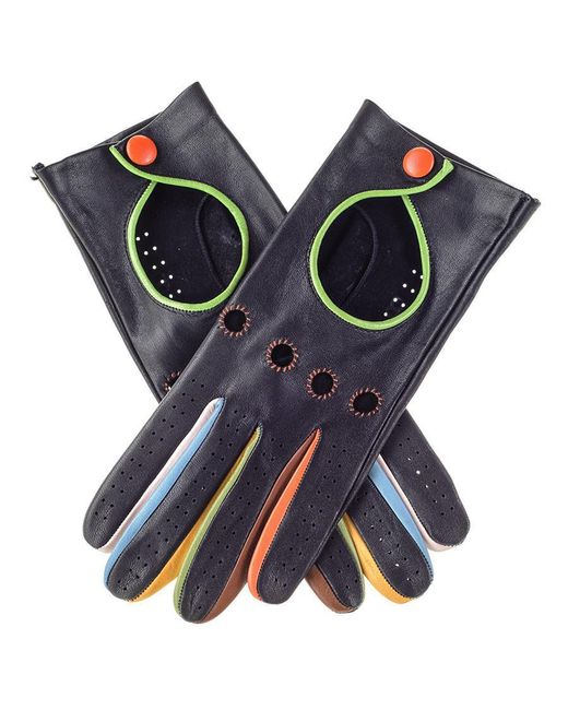 Black.co.uk Blue Black Leather Driving Gloves With Multicolour Detail