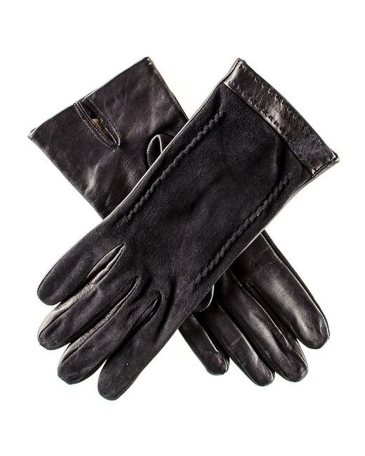 Black.co.uk - Black Italian Leather And Suede Gloves - Silk Lined - Lyst