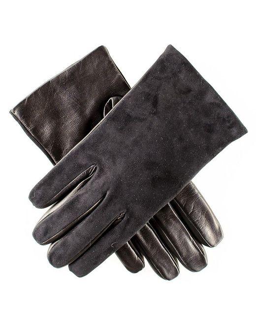 Black.co.uk Mens Black Suede And Leather Gloves - Cashmere Lined for men