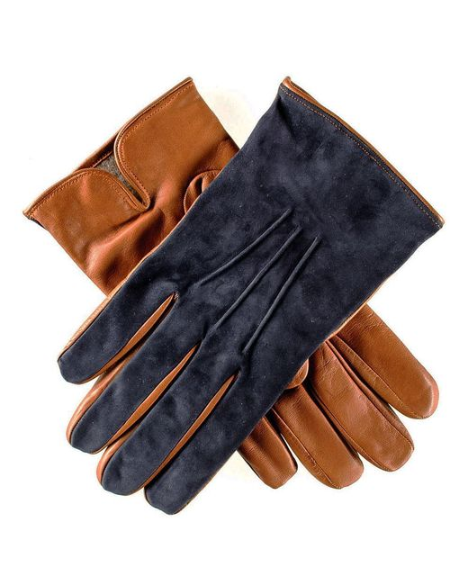 Black.co.uk Blue Men's Navy Suede And Tan Leather Gloves-cashmere Lined for men