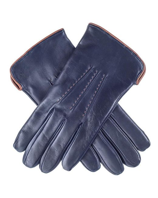 Black.co.uk - Blue Navy And Tan Leather Gloves - Cashmere Lined - Lyst