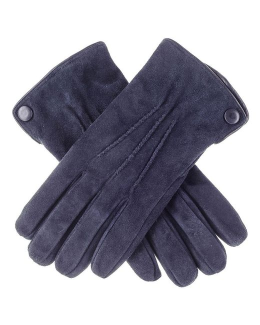 Black.co.uk Navy Blue Suede Gloves With Cashmere Lining for men
